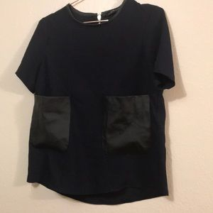 Zara blouse with fux leather pockets